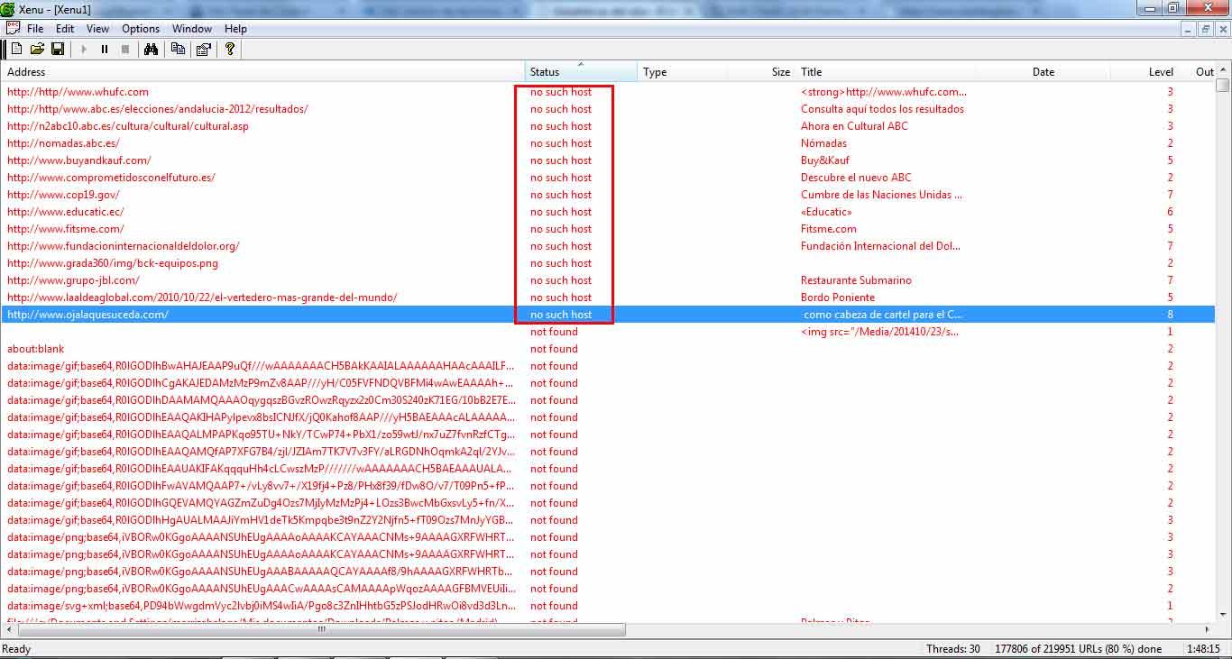 encontrar dominios caducados en Xenu