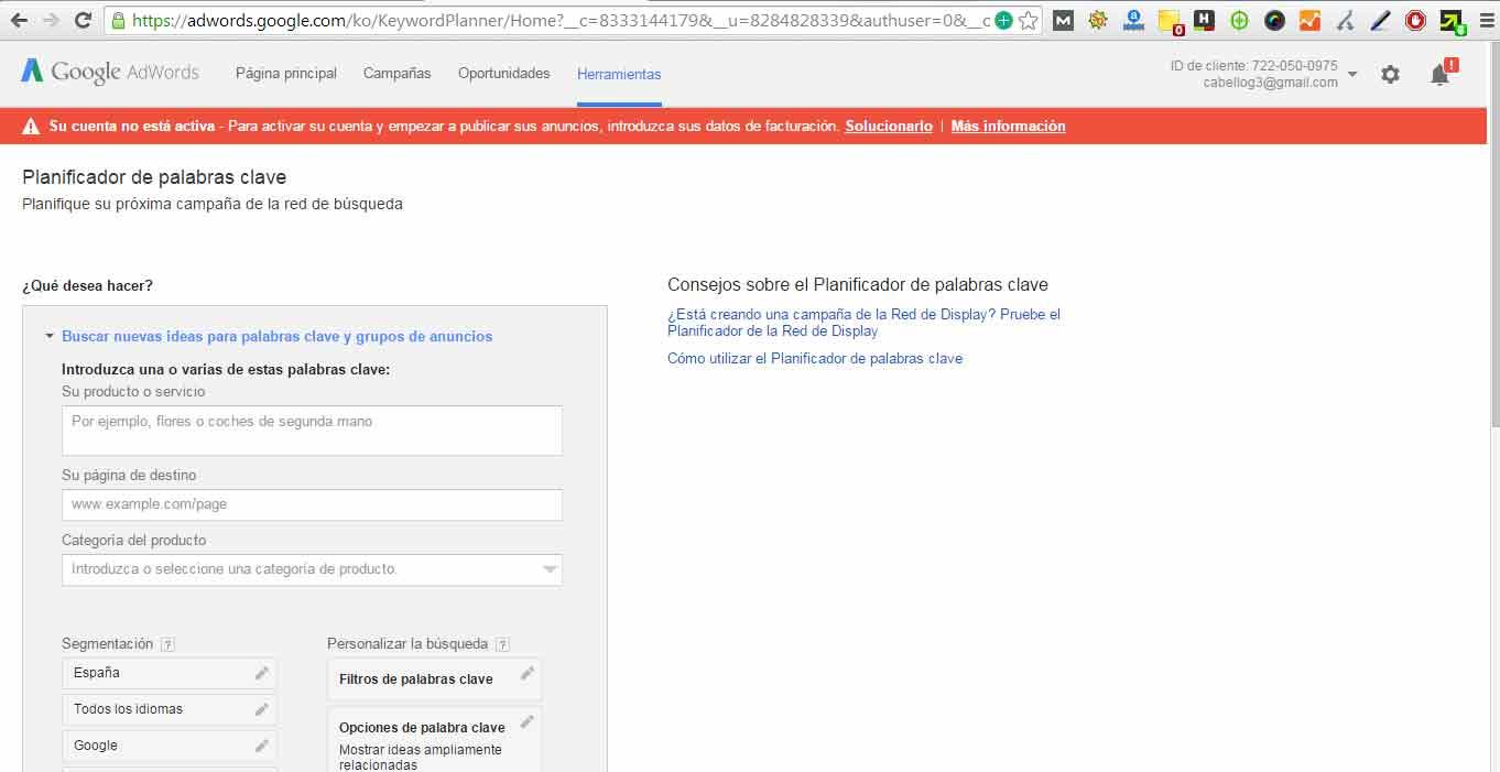 Herramienta de palabra clave - Google planner