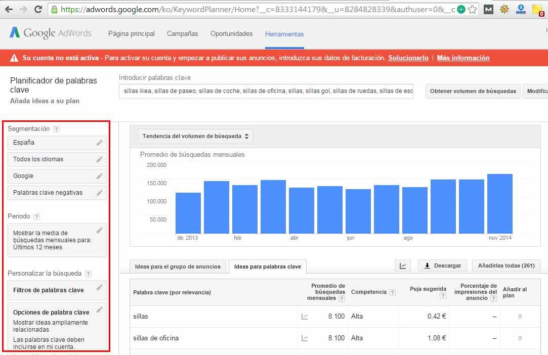 buscar palabras clave google adwords