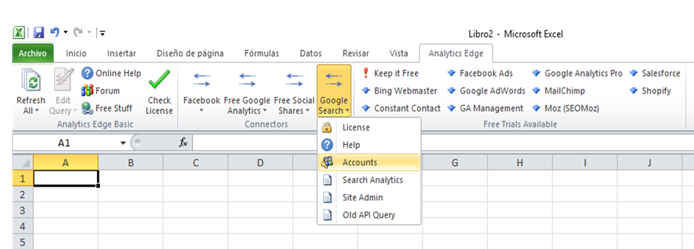 conectar a google search analytics edge