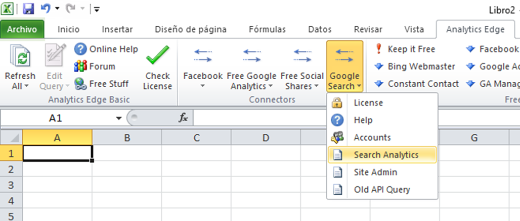 search analytics para descargar datos